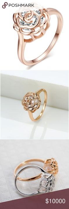 COMING SOON!!! Rose Gold Hollow Rose Crystal Ring COMING SOON!!!  Rose gold hollow rose crystal ring  ~size:7 ~rose gold plated ~See other listings for matching necklace and earrings ~New in package  *like to be updated on item arrival*  From smoke and pet free home. All reasonable offers accepted. Jewelry Rings