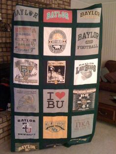 The awesome quilt my mom made out of my old #Baylor T-Shirts!