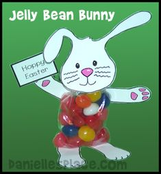 Jelly Bean Bunny Craft- maybe substitute the belly for cotton balls instead of candy or just make a body