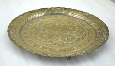 1850s Indian Antique Hand Crafted Fine Engraved Brass Round Puja Worship Plate