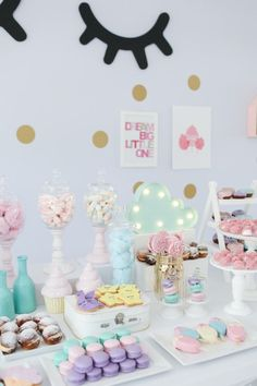 feature paintings behind table as backdrop add fun sweets! Unicorn Birthday Parties, Baby Birthday, First Birthday Parties, Birthday Party Themes, First Birthdays, Pastell Party, Troll Party, Unicorn Baby Shower, Slumber Parties