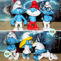 6pcs per Set High Quality Smurfette Clumsy Figures Elves Papa Action Toys children dolls christmas gift