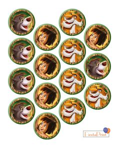 The Jungle Book Kids Birthday Party 2in Cupcake Printables by FiestaPrintDesign on Etsy https://www.etsy.com/listing/291532687/the-jungle-book-kids-birthday-party-2in