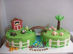 Joana Artes Bolos(Uberaba-MG) 34-33124684: bolo infantil fazendinha Retirement Party Cakes, Farm Birthday Cakes, Farm Animal Birthday, Cowboy Birthday, Horse Birthday, Barnyard Cake, Farm Cake, Housewarming Cake, Catering Food Displays
