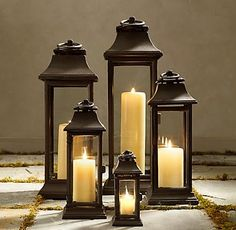 RH's Savoy Square Lanterns:Inspired by early Italian Baroque architecture from the region of Savoy, our cast iron lanterns provide a welcoming glow. Metal Lanterns, Lanterns Decor, Candle Lanterns, Candle Sconces, Large Floor Lanterns, Decorative Lanterns, Chandeliers, Decorate Your Room, Oil Lamps
