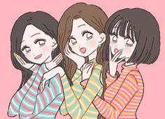 No photo description available. Pretty Art, Cute Art, Character Art, Character Design, Anime Sisters, Korean Anime, Bff Drawings, Art Drawings Beautiful, Dibujos Cute