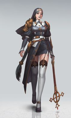 ArtStation - Amelie Nun with cross, Yong Jun Park Dnd Characters, Fantasy Characters, Female Characters, Fantasy Character Design, Character Concept, Character Art, Fantasy Armor, Medieval Fantasy, Fantasy Inspiration