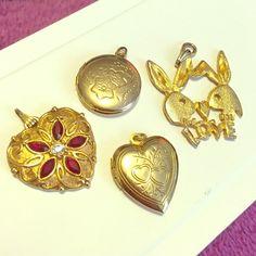 "Gold Pendant Bundle One golden and Ruby gemstone Avon heart pendant, one golden Playboy Bunny ""LOVE"" pendant, 2 golden lockets. Avon Jewelry"