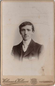 Cabinet photo of a Handsome Victorian Man taken in Cardiff, Wales around 1890s by the Williams & Williams Studio located at 53 Queen Street.