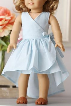 Elianna Doll Dress - American Girl Doll and Related - Baby Girl Frocks, Baby Girl Party Dresses, Frocks For Girls, Toddler Girl Dresses, Little Girl Dresses, Cotton Frocks For Kids, Girls Dresses Sewing, Doll Dresses, Dress Outfits