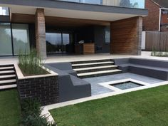 Egyptian limestone terrace with inbuilt seating and fire pit