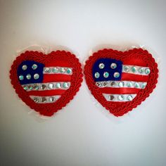 Stars and Stripes Nipple Pasties Burlesque Rhinestone American Flag Red Heart Red Satin Heart shaped Pasties. Red Embroidery Edge Blue and White Felt Flag Details and White Rhinestone Accents. Self adhesive and reusable! No need for glue or tape! I welcome custom orders, message me if you have something in mind.