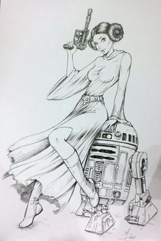 Princess Leia  R2D2 BY DAWN McTEIGUE, in MGA-MICHAEL ALEXANDER's FOR SALE CONVENTION SKETCHES,COMMISSION  PINUPS Comic Art Gallery Room - 977522