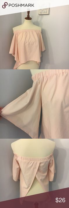 Blush pink off the shoulder blouse top Size small.15.5 inch bust. Length range is shown in photo. Open back. No trades Tops Blouses
