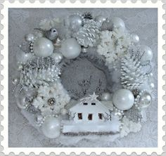 White Christmas Wreath Vintage Putz House
