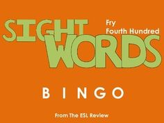 Play bingo with your students in style using these beautifully crafted bingo cards covering the fourth hundred of the Fry Instant Sight Words. This packet includes: - a set of 50 bingo cards for the first fifty words- a second set of 50 bingo cards for the remaining fifty words- caller cards for each set- bingo markersEnjoy!Dont forget to try:* Fry Sight Words Bingo - First Hundred* Fry Sight Words Bingo - Second Hundred* Fry Sight Words Bingo - Third Hundred* Fry Sight Words Bingo - Fourth…