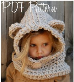 Crochet PATTERN-The Baylie Bear Cowl (Toddler, Child, Adult sizes) also can be Made to Order. $5.50, via Etsy.