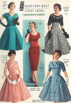 National Bellas Hess catalog, winter 1958-59 50s dress color photo print ad models magazine pink dress full skirt blue green black white red wiggle sheath velvet