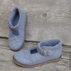Обувь ручной работы. Ярмарка Мастеров - ручная работа. Купить Туфли валяные Bella ciao. Handmade. Серый, бохо-стиль