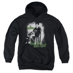 THE MUNSTERS/HAVE YOU SEEN SPOT-YOUTH PULL-OVER HOODIE - BLACK -