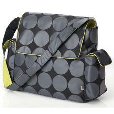 #bebe OiOi Charcoal Dot – Bolso cambiador (con accesorios y forro color verde), diseño de lunares, color gris