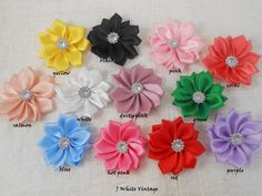 "Satin Ribbon Flowers,1.7 "",Satin Flower, Fabric Flower,Headband Flower,Wholesale, You Choose color on Etsy, $0.60"