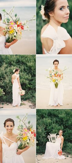 little crazy but really great use of branches for a beach wedding bouquet - arrangement