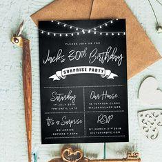 Chalkboard Invite 40th Birthday Invitations For Men Invitation Male 30th 50th