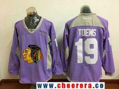Men's Chicago Blackhawks #19 Jonathan Toews Pink Practice Stitched NHL Reebok Hockey Jersey