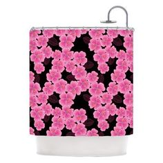 Kess InHouse Julia Grifol Floral Pink on Black Shower Curtain - JG1005ASC01