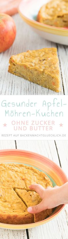 Dieser Apfel-Möhren-Kuchen ohne Zucker und Butter ist schön saftig und fruchti… This apple and carrot cake without sugar and butter is beautifully juicy and fruity. The perfect healthy cake for babies, children and everyone who wants to snack healthy. Healthy Cake, Healthy Baking, Healthy Desserts, Healthy Recipes, Carrot Recipes, Happy Healthy, Healthy Nutrition, Paleo Dessert, Dessert Recipes
