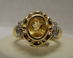 GOLD OVER 925 STERLING SILVER RING BEZEL SET CITRINE W/ DIAMOND ACCENTS SIZE 6.5 #SolitairewithAccents