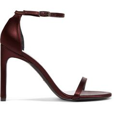 Stuart Weitzman NudistSong satin sandals (€420) ❤ liked on Polyvore featuring shoes, sandals, heels, salto, burgundy, strappy shoes, stuart weitzman sandals, burgundy evening shoes, high heels sandals and strap sandals