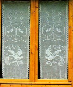 Professione Donna: Schema per il filet: Tendine a vetro con uccellini...