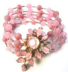 MIRIAM HASKELL Pink Glass Bead RHINESTONE Vintage Estate BRACELET Signed  #MiriamHaskell