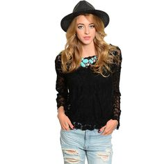 4dd099be0f3cc Feellib Women s Long-sleeve Sheer Floral Lace Top - Overstock™ Shopping -  Top Rated