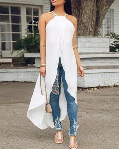 New Arrival Hot Sale Fashion Halter Sleeveless Irregular Long Shirt Women Bohemian Summer Blouses Female Solid Casual Tops Casual T Shirts, Casual Tops, Two Piece Dress, Long Tops, Pattern Fashion, Blouses For Women, Womens Fashion, Diy Fashion, Fashion Outfits