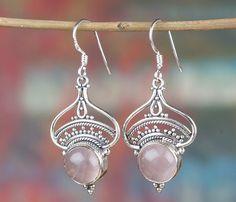 Rose Quartz Jewellery – Tibetan 925 Silver Rose Quartz Earring BJE-216-RQ – a…