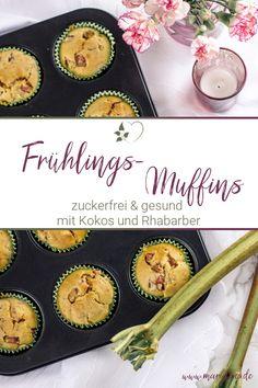 Zuckerfreie Frühlingsmuffins mit Rhabarber und Kokos - #muffins #rhabarber #rhabarbermuffins #zuckerfrei #frühlingsrezept Spring Recipes, Easy Peasy, Good Food, Favorite Recipes, Desserts, German, Mary, Bakken, Rhubarb Muffins
