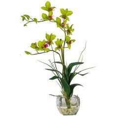 Dendrobium With Glass Vase Silk Flower Arrangement