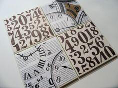 Vintage Clocks and Numbers Ceramic Coasters - set of 4 - Steampunk or Industrial designs