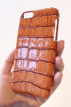 Orange Crocodile Patent Leather case cover for Apple Iphone 5c by Yunikuna on Etsy