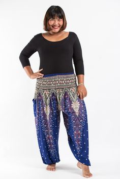Plus Size Peacock Feathers Women's Harem Pants in Blue
