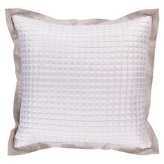 Feather gray and white metallic pillow with a quilted design.      Product: PillowConstruction Material: Polyester cov...