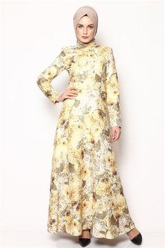Tesettür Elbise  - Sarı 6032