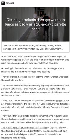 """""""We feared that such chemicals, by steadily causing a little damage to the airways day after day, year after year, might accelerate the rate of lung function decline that occurs with age,"""" said Dr. The More You Know, Good To Know, Things To Know, Things To Think About, E Mc2, Fun Facts, Random Facts, Random Stuff, Intersectional Feminism"""