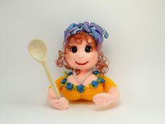 Fridge Magnets Soft dolls Knitting Doll by HomemadeCraftIdeas