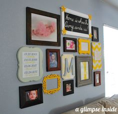 Gallery Wall from @Allison Michelena {A Glimpse Inside} - I love the pops of yellow!