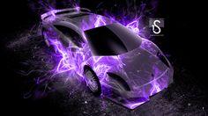 Neon Purple Flames | front fire abstract car 2014 lamborghini murcielago back fire ...