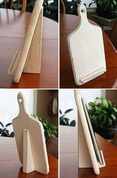 Turn a cutting board into a cookbook / i-pad stand. Website is not in English. Never did find the picture or instructions for this, but it looks fairly simple
